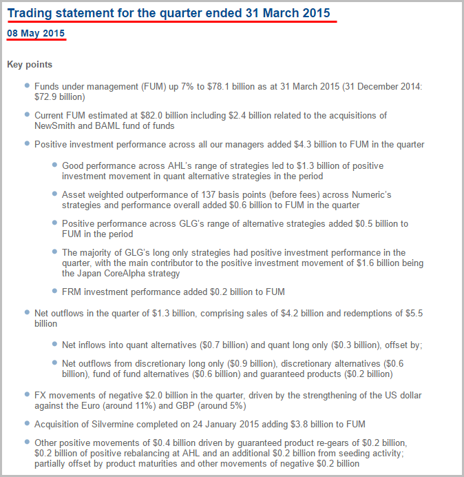 EMG - Q1 Trading Statement (8th May 2015)